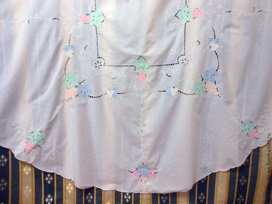 Текстиль, ковры ручной работы. Ярмарка Мастеров - ручная работа. Купить Круглая старинная скатерть с аппликацией, хлопок, ручная работа. Handmade.