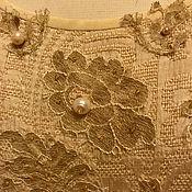 Одежда ручной работы. Ярмарка Мастеров - ручная работа Платье с золотым кружевом и жемчугом. Handmade.