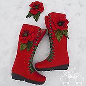 """Обувь ручной работы. Ярмарка Мастеров - ручная работа Ботинки войлочные женские """"Любовь"""" красный алый валенки шерсть. Handmade."""