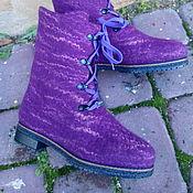 """Обувь ручной работы. Ярмарка Мастеров - ручная работа Валеночки берцы """"Сливовые"""". Handmade."""