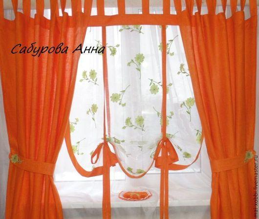 Текстиль, ковры ручной работы. Ярмарка Мастеров - ручная работа. Купить шторы на кухню  из льна ! в стиле прованс  цвет любой. Handmade.