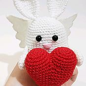 Сувениры и подарки handmade. Livemaster - original item Bunny-Valentine. Knitted Bunny with heart. Handmade.