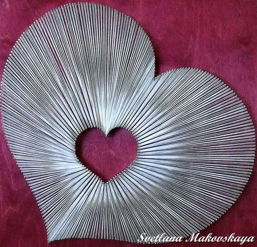 Подарки для влюбленных ручной работы. Ярмарка Мастеров - ручная работа. Купить Сердце в технике String Art. Handmade. Разноцветный