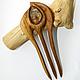 """Заколки ручной работы. Ярмарка Мастеров - ручная работа. Купить Заколка из дерева с раухтопазом """"Око фараона"""" (канадский дуб). Handmade."""