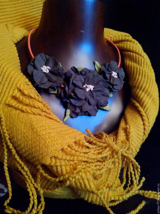 """Колье, бусы ручной работы. Ярмарка Мастеров - ручная работа. Купить Колье """"Цветы"""". Handmade. Коричневый, купить в москве, фоамиран"""
