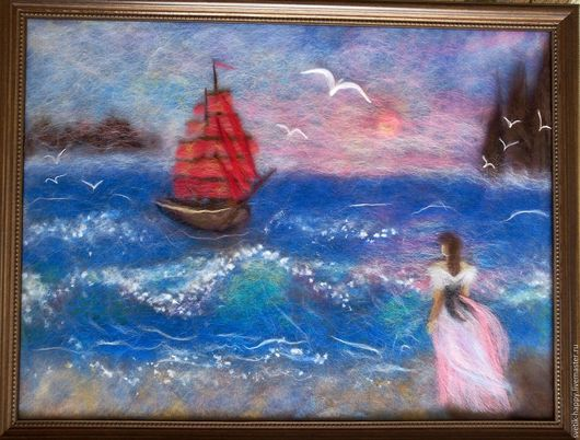 """Картины цветов ручной работы. Ярмарка Мастеров - ручная работа. Купить картина из шерсти в технике шерстяная акварель """"Алые паруса"""". Handmade."""
