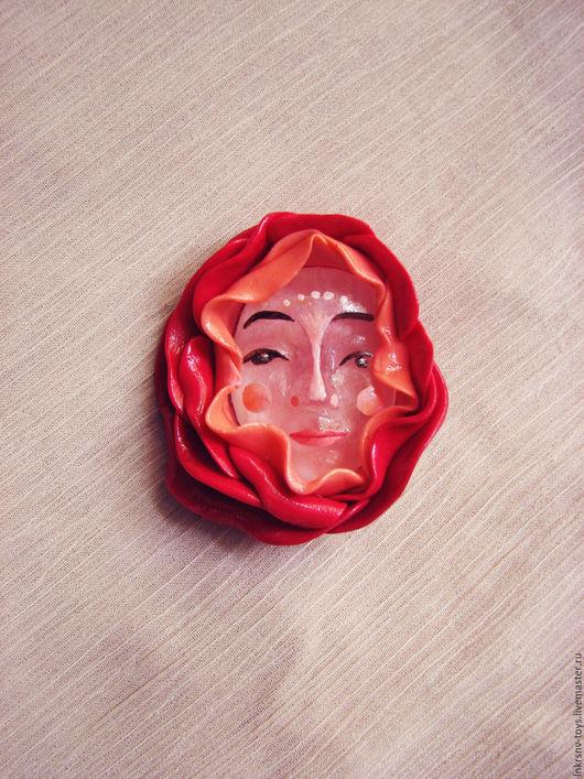 """Броши ручной работы. Ярмарка Мастеров - ручная работа. Купить Брошь """"Роза"""". Handmade. Ярко-красный, брошь-цветок"""