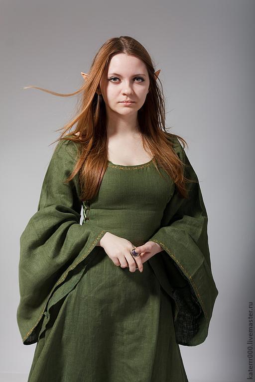 Платья ручной работы. Ярмарка Мастеров - ручная работа. Купить Эльфийское платье мод.1. Handmade. Зеленый, эльфийское платье
