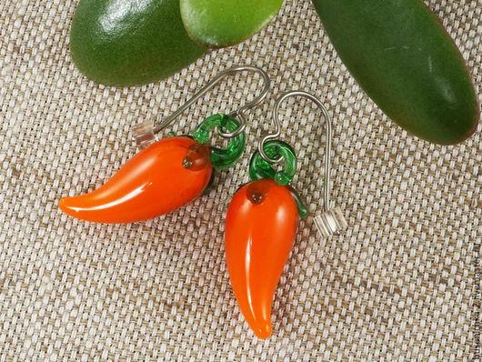 Серьги ручной работы. Ярмарка Мастеров - ручная работа. Купить Серьги Морковки, рыжие (лампворк). Handmade. Подарок девушке женщине
