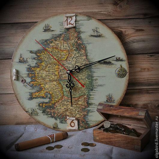 Часы для дома ручной работы. Ярмарка Мастеров - ручная работа. Купить Часы ОСТРОВ СОКРОВИЩ. Handmade. Декупаж, нежный, остров