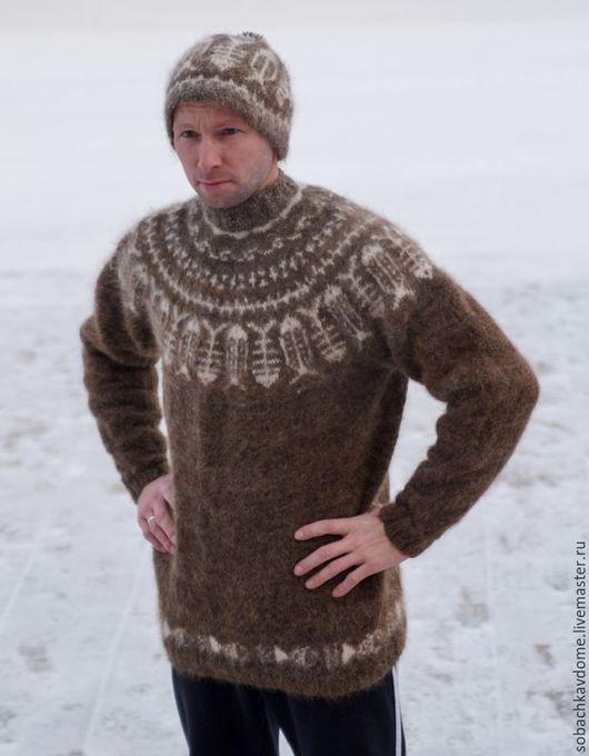 Кофты и свитера ручной работы. Ярмарка Мастеров - ручная работа. Купить свитер Удачливого рыбака из собачьей шерсти. Handmade. Коричневый