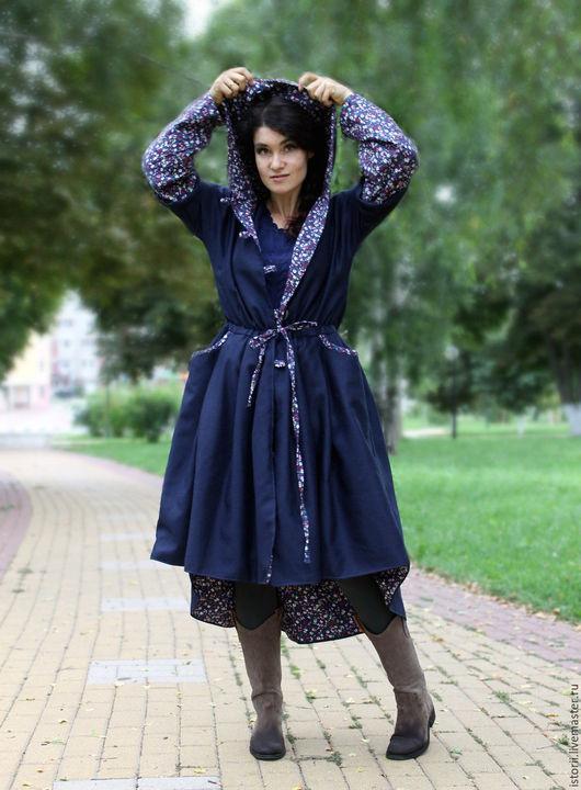 Верхняя одежда ручной работы. Ярмарка Мастеров - ручная работа. Купить Шерстяное пальто в стиле бохо-шик (цвет темно-синий). Handmade.