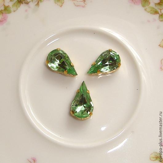 Для украшений ручной работы. Ярмарка Мастеров - ручная работа. Купить Винтажные кристаллы 13х7,8 мм - Peridot. Handmade.