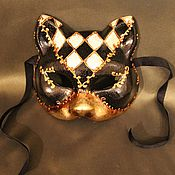 Одежда ручной работы. Ярмарка Мастеров - ручная работа Маска венецианская Кошка Черное Золото. Handmade.