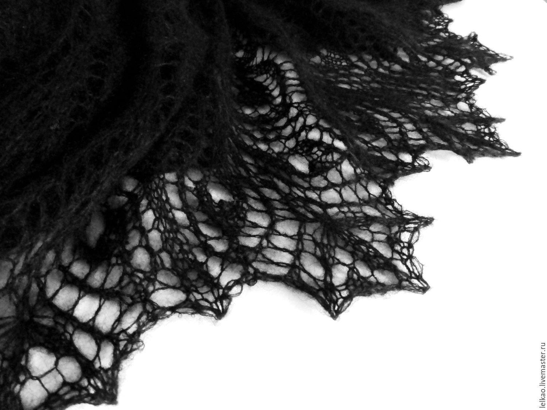 shawl, knitting shawl, openwork shawl, handmade shawl, shawl shawl, openwork shawl, knitted shawl, warm shawl, Feather shawl, the black shawl from mohair, buy shawl, black shawl, black shawl, large sh