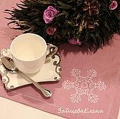 Для дома и интерьера ручной работы. Ярмарка Мастеров - ручная работа Салфетка льняная Снежинка. Handmade.