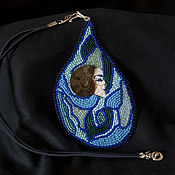 Украшения handmade. Livemaster - original item Beaded pendant Water spirit bead, blue,green,blue. Handmade.