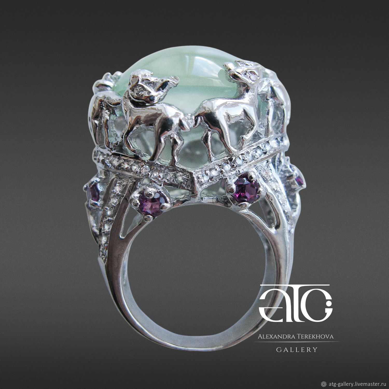 High fashion luxury ring with prehnite, rhodolite garnet and cubic Zirconia!