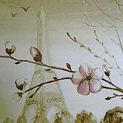 """Картины и панно ручной работы. Ярмарка Мастеров - ручная работа Кофейный рисунок """"Весна в Париже"""". Handmade."""