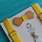 Аксессуары ручной работы. Ярмарка Мастеров - ручная работа Деревянная бабочка галстук ярко желтая в комплекте с подтяжками. Handmade.