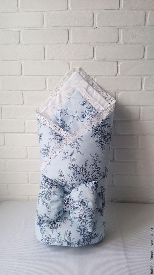 """Для новорожденных, ручной работы. Ярмарка Мастеров - ручная работа. Купить Конверт-одеяло """"Голубая нежность"""". Handmade. Голубой, москва"""