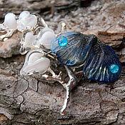 Украшения handmade. Livemaster - original item Winter Garden brooches with lampwork moth. Handmade.