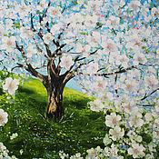 Картины и панно ручной работы. Ярмарка Мастеров - ручная работа Картина маслом Вишневый сад. Handmade.