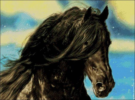 """Вышивка ручной работы. Ярмарка Мастеров - ручная работа. Купить Схема для вышивания крестиком """"Чёрный красавец"""". Handmade. Комбинированный, лошадь"""