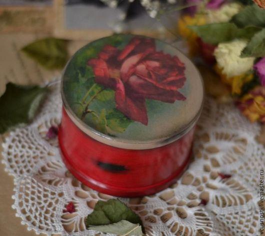 """Шкатулки ручной работы. Ярмарка Мастеров - ручная работа. Купить Шкатулка """"Роза"""". Handmade. Ярко-красный, винтажный стиль, дерево"""