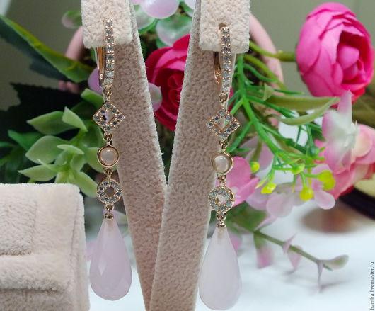 Серьги ручной работы. Ярмарка Мастеров - ручная работа. Купить 925 серебряные серьги розовые реактивной мощности. Handmade. синий