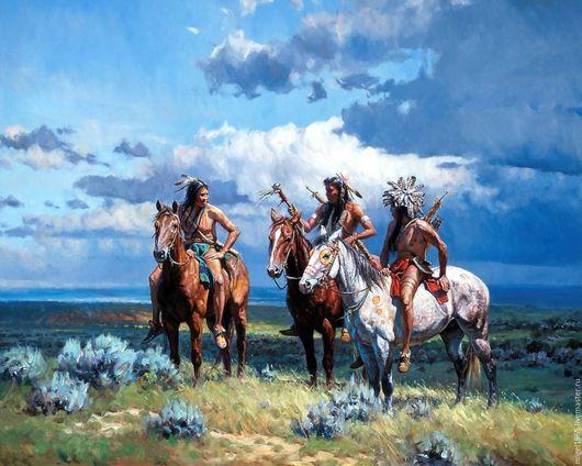Люди, ручной работы. Ярмарка Мастеров - ручная работа. Купить Индейцы на Охоте. Handmade. Индейцы, горы, оружие, охота, горизонт