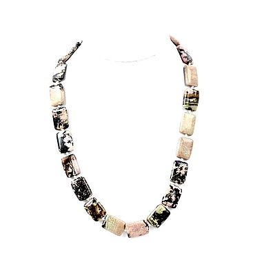 Decorations handmade. Livemaster - original item Square beads natural rhodonite. Handmade.