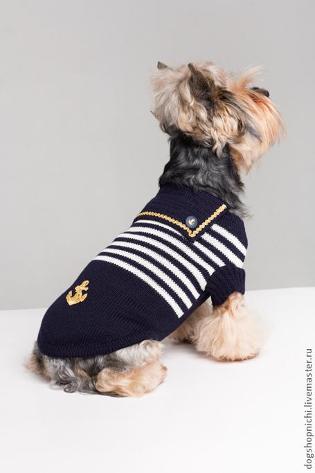 Одежда для собак, ручной работы. Ярмарка Мастеров - ручная работа. Купить свитер для собак из полушерсти-Матроска авторская работа. Handmade.