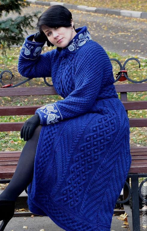 """Верхняя одежда ручной работы. Ярмарка Мастеров - ручная работа. Купить Вязаное теплое пальто """"Царица-ночь"""". Handmade."""