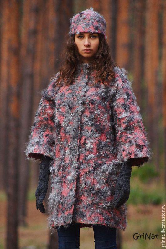 """Верхняя одежда ручной работы. Ярмарка Мастеров - ручная работа. Купить Пальто""""Морозный туман"""". Handmade. Комбинированный, пальто валяное"""
