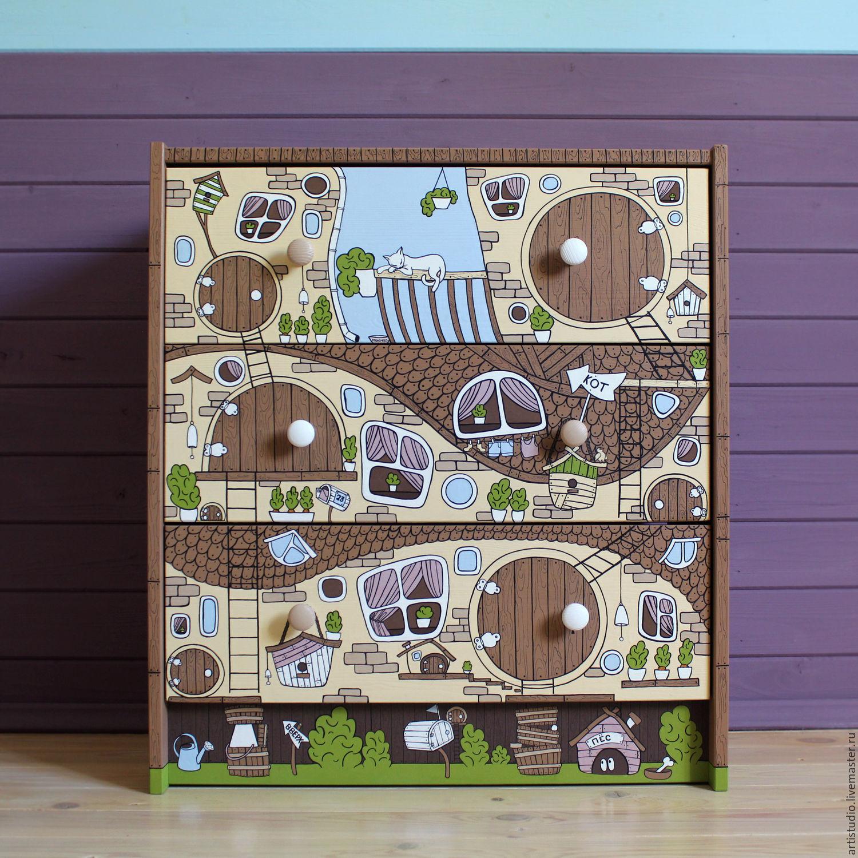 Детская ручной работы. Ярмарка Мастеров - ручная работа. Купить Комод-дом детский. Handmade. Мебель, разноцветный, роспись детской