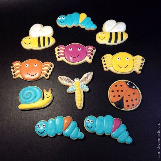 Кулинарные сувениры ручной работы. Ярмарка Мастеров - ручная работа. Купить Печенье  насекомые. Handmade. Печенье, сладкий подарок, лимон