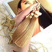 Украшения handmade. Livemaster - original item Earrings-brush of Pure gold beige Golden pearl cubic Zirconia gold plated. Handmade.