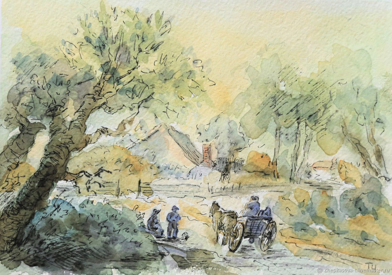 Watercolor Country road, Pictures, Moscow,  Фото №1