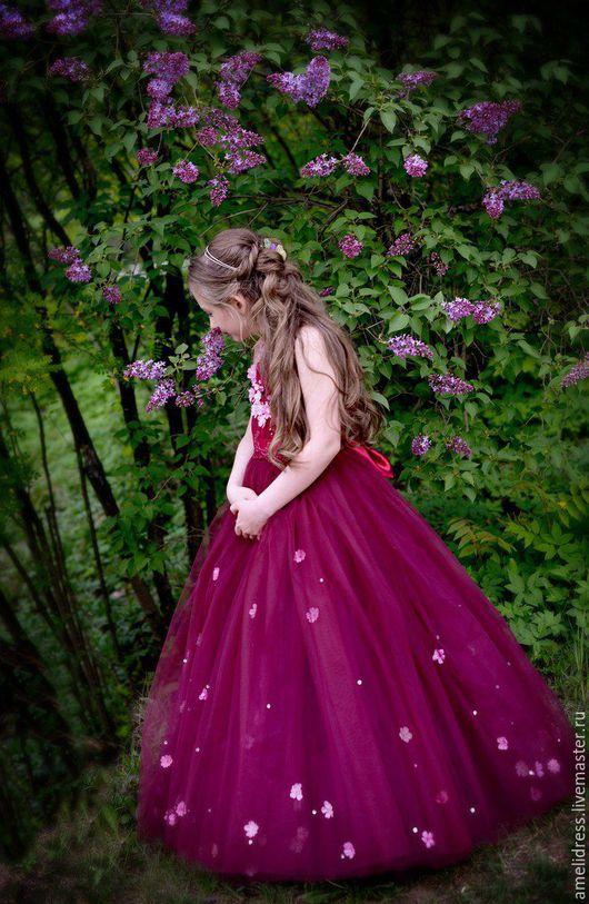 Одежда для девочек, ручной работы. Ярмарка Мастеров - ручная работа. Купить Вишневое платье. Handmade. Бордовый, вишневый