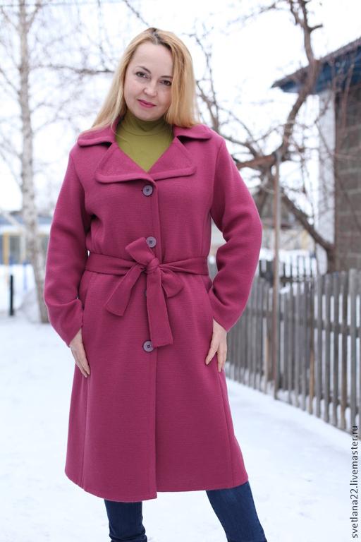 """Верхняя одежда ручной работы. Ярмарка Мастеров - ручная работа. Купить Демисезонное пальто """"Городской стиль"""". Handmade. Фуксия, шерсть"""