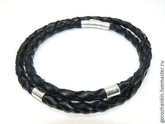 Шнур, гайтан, чокер `Рагнар` кожаный плетеный серебро 6 мм Ручная работа