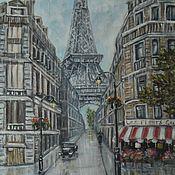 Картины и панно ручной работы. Ярмарка Мастеров - ручная работа Над Парижем падает дождь..... Картина маслом.. Handmade.