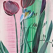 """Картины и панно ручной работы. Ярмарка Мастеров - ручная работа Оригинальная картина """"Тюльпаны"""", акварель, смешанная техника. Handmade."""