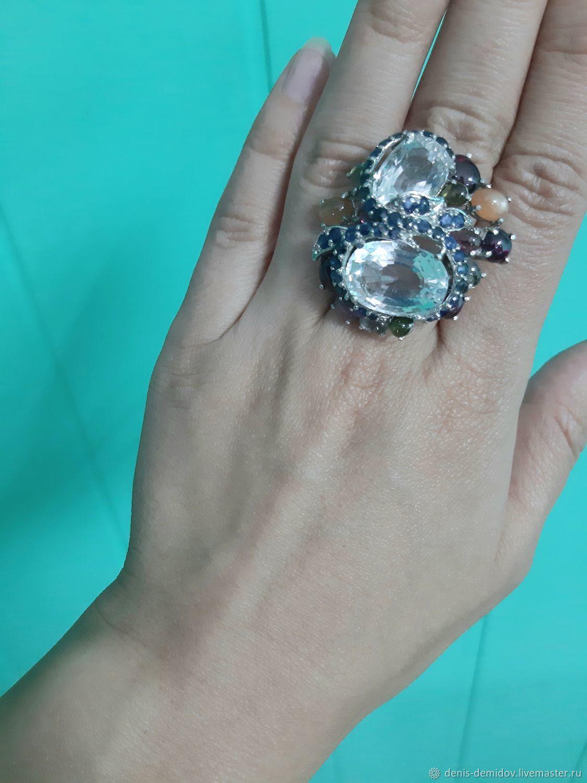 Кольцо с натуральными бесцветными топазами, сапфирами, турмалинами, Кольца, Владивосток,  Фото №1