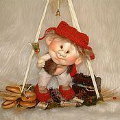 Куклы и игрушки handmade. Livemaster - original item Folk doll: Brownie on the swings. Handmade.
