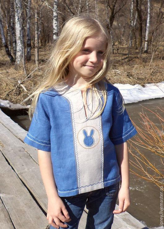 """Одежда унисекс ручной работы. Ярмарка Мастеров - ручная работа. Купить Детская льняная рубашка - разукрашка """"Заяц"""". Handmade. Голубой"""