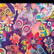 """Аксессуары ручной работы. Ярмарка Мастеров - ручная работа Шелковый платочек """"Совушки"""", батик, Карина М.. Handmade."""