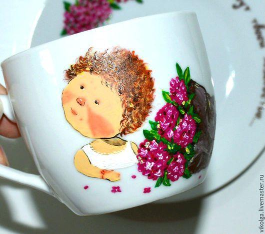 Сервизы, чайные пары ручной работы. Ярмарка Мастеров - ручная работа. Купить Чайная пара с росписью Нежные гортензии. Handmade.