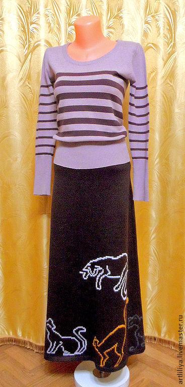 Юбки ручной работы. Ярмарка Мастеров - ручная работа. Купить юбка вязаная тёплая длинная с вышивкой Хозяйка кошек. Handmade.